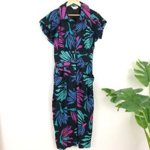 Vintage 90s Datiani Tropical Button Up Midi Dress